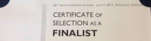 Finalist certificate heading